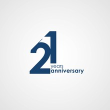 21 Years Anniversary Emblem Template Design With Dark Blue Number Style