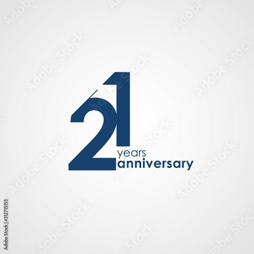 Fotografia 21 Years Anniversary emblem template design with dark blue number style