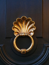 Polished Brass Door Knocker On A Dark Wood Door