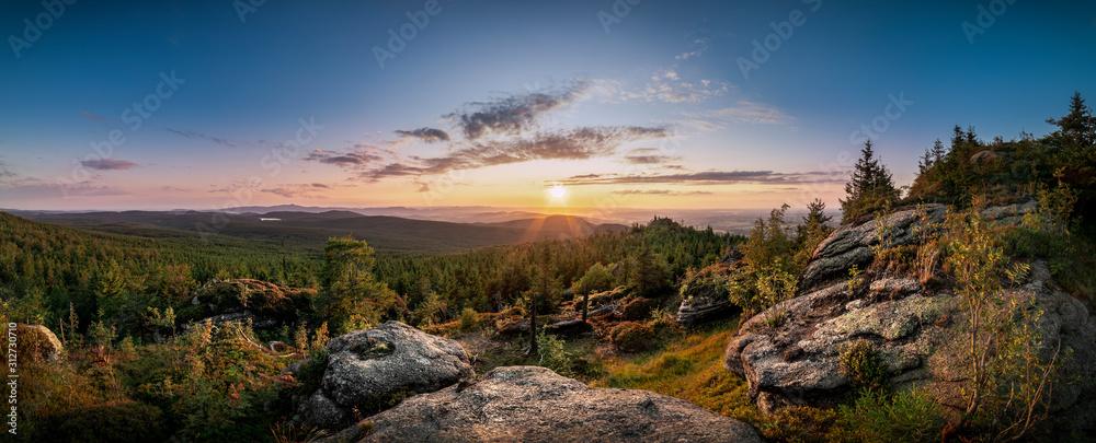 Fototapeta Sunset at Viewpoint on Ptaci kupy in Jizera Mountains, Liberec, Czech Republic