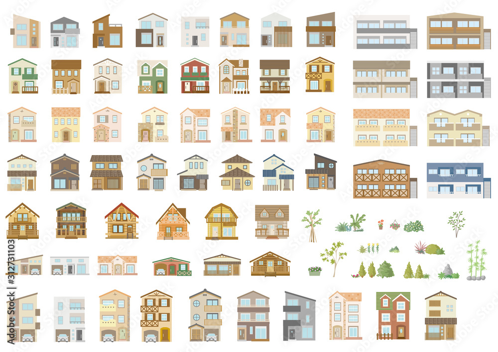 Fototapeta Houses exterior vector illustration front view with roof. Modern. Townhouse building apartment. Home facade with doors and windows.