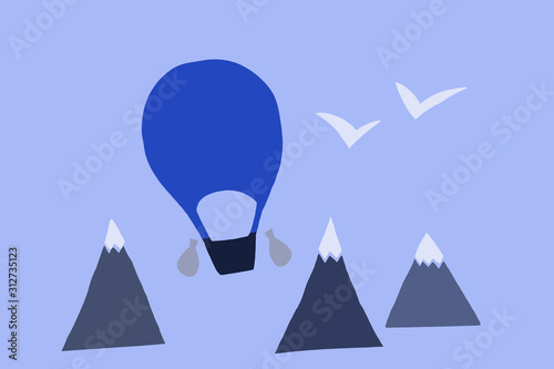Aerostat on blue backround Canvas Print
