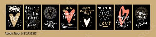 Fototapeta Hand drawn Valentine's Day cards