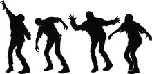 Silhouettes Attacking Zombies In Torn Old Clothes Go Towards The Viewer. Isolated On A White Background.