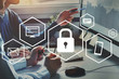 canvas print picture - privacy, information leak and cybersecurity concept, protection of private data, emails and documents, virtual diagram with icons