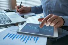 Financial Analytics, Business Man Working With Charts, Fintech