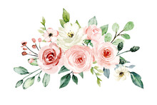 Pink Flowers Watercolor, Floral Clip Art. Bouquet Blush Roses Perfectly For Printing Design On Invitations, Cards, Wall Art And Other. Isolated On White Background. Hand Painting.