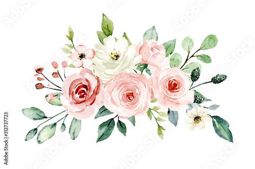 Fotografie, Tablou Pink flowers watercolor, floral clip art