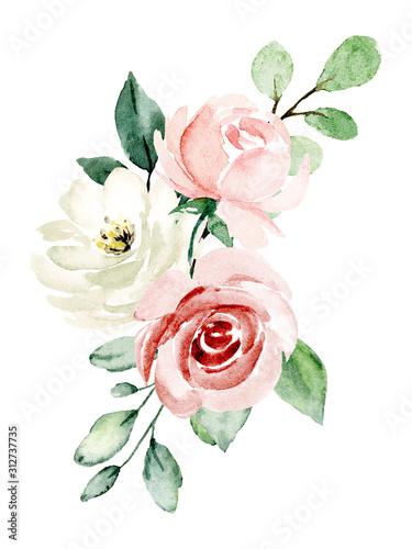 Pink flowers watercolor, floral clip art Wallpaper Mural