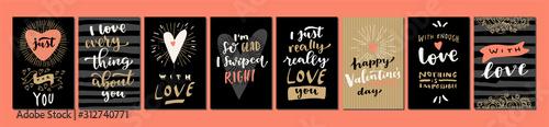 Fotografie, Obraz Valentine's Day Love hand lettered modern calligraphic cards
