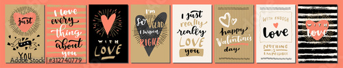 Valentine's Day Love hand lettered modern calligraphic cards Fotobehang