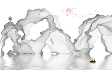 Abstract Black And White Artistic Line Background Of Ink Landscape Decoration Painting