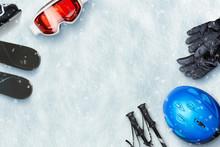 Ski Equipment Placed On Snow W...