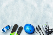 Ski Equipment Placed On Snow. ...