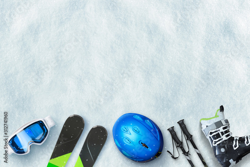 Fotomural Ski equipment placed on snow