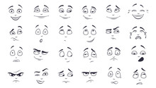 Facial Expression Flat Vector Illustration Set. Happy, Laughing, Pensive, Unhappy, Tired, Angry, Crying Monochrome Cartoon Face. Emotions Concept