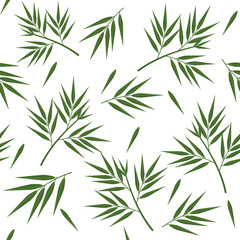 Panel Szklany Bambus Green bamboo leaves seamless pattern, white background, vector