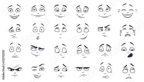 Cuadros en Lienzo Facial expression flat vector illustration set