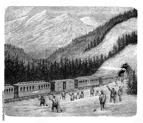 Construction of the Central Pacific railroad in Sierra Nevada completed by Chine Canvas-taulu