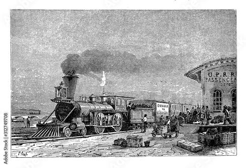 Fotografie, Obraz Train of the Central Pacific Railroad departing from Omaha Station, Nebraska