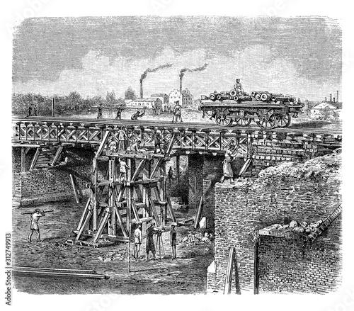 Cuadros en Lienzo  Prussion regiment build a railroad bridge during the  Franco Prussian War, 19th