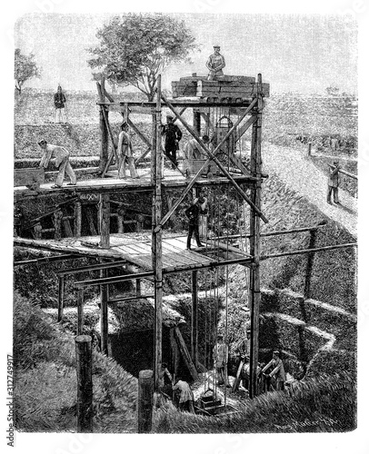 Fotomural  Prussion railway regiment build a tunnel as tactic infrastructure for transporta