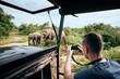Leinwandbild Motiv Photographing of group of elephants