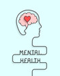 Mental health concept with head, brain and heart silhouette