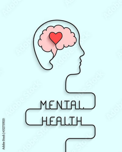 Fotografia Mental health concept with head, brain and heart silhouette