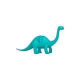 Fototapeta Dinusie - Brontosaurus isolated cartoon tyrannosaurus. Vector blue childish dino, dinosaur animal