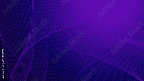Obraz Dot purple wave line light gradient dark background. Abstract technology big data digital background. 3d rendering. - fototapety do salonu
