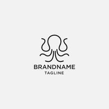 Octopus Logo Kraken Vector Icon Line Art Outline