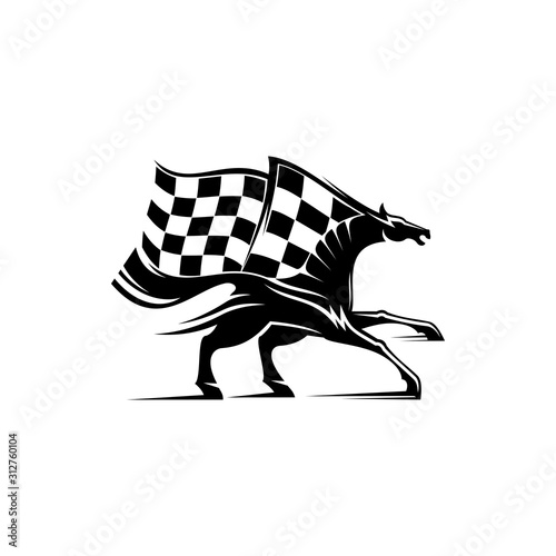 Obraz Racing sport mascot isolated horse and checkered flag. Vector equestrian races, monochrome mustang stallion - fototapety do salonu