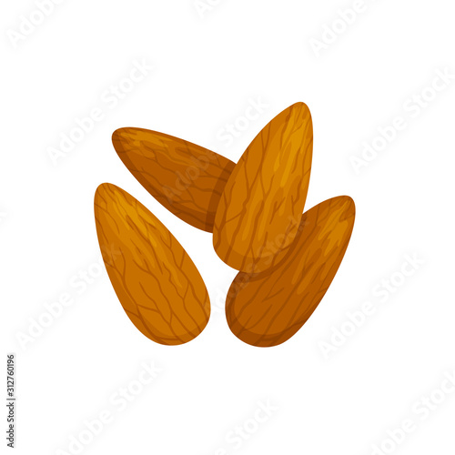 Photo Shelled almond seeds isolated drupes of fruit