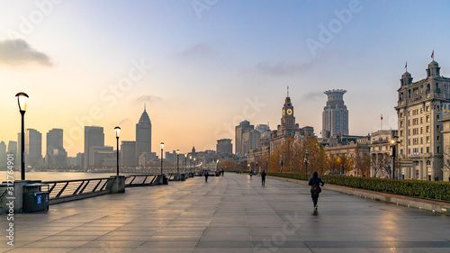 Fototapeta Shanghai at morning  The Bund, The Bund in Shanghai is a famous waterfront area in central Shanghai, China. obraz