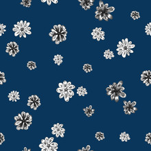 Little White Flowers Hand Drawn - Seamless Pattern On Navy Blue Background