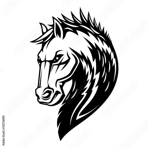 Fototapety, obrazy: Heraldic horse head and mane icon. Vector royal equine heraldry symbol of Pegasus stallion horse