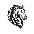 Racehorse animal, equestrian sport mascot, isolated horsey tattoo. Vector mustang horse head
