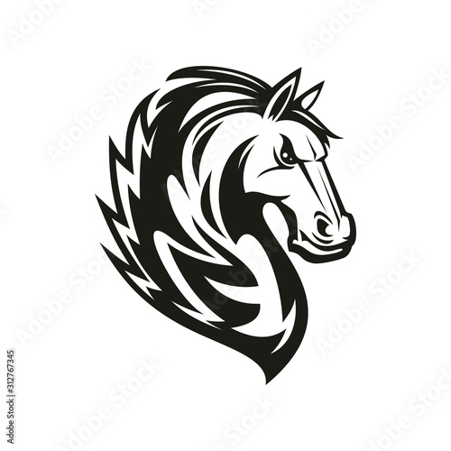 Fototapety, obrazy: Racehorse animal, equestrian sport mascot, isolated horsey tattoo. Vector mustang horse head