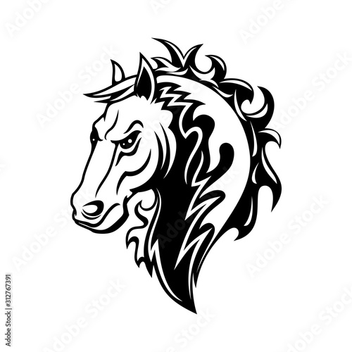 Fototapety, obrazy: Horse or mustang animal isolated icon, tribal tattoo and equestrian sport mascot design. Black and white stallion or mare horse head with angry muzzle and curly mane