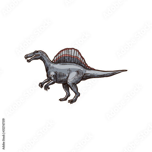 Fotografie, Tablou Ankylosauria isolated cartoon armour dinosaur sketch