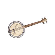 American Banjo Isolated Retro Musical Instrument. Vector Four String Banjo Guitar, Chordal Accompaniment