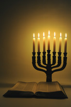 Menorah And Open Bible With 7 ...