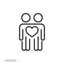 Community Relationship Kindness Icon, Friendship And Respect, Love Between People, Thin Line Web Symbol On White Background - Editable Stroke Vector Illustration Eps10