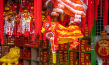 Chinese Traditional Dancing Lion Hanging For New Year,calligraphy Translation:good Bless For Money