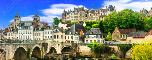 Obraz Travel and landmarks of  France- pictorial medieval town Saint-Aignan,  Loire valley region - fototapety do salonu