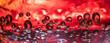 Fundo abstrato vermelho com bolhas