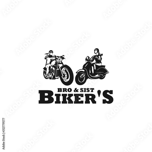 Photo brother and sister biker silhouette logo