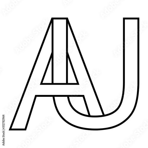Logo gold, aurum sign au, ua icon sign interlaced letters A, U vector logo au, u Canvas Print
