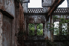 Decay Ruins Of Burned And Abandoned Old French Church In Vietnam, Urbex